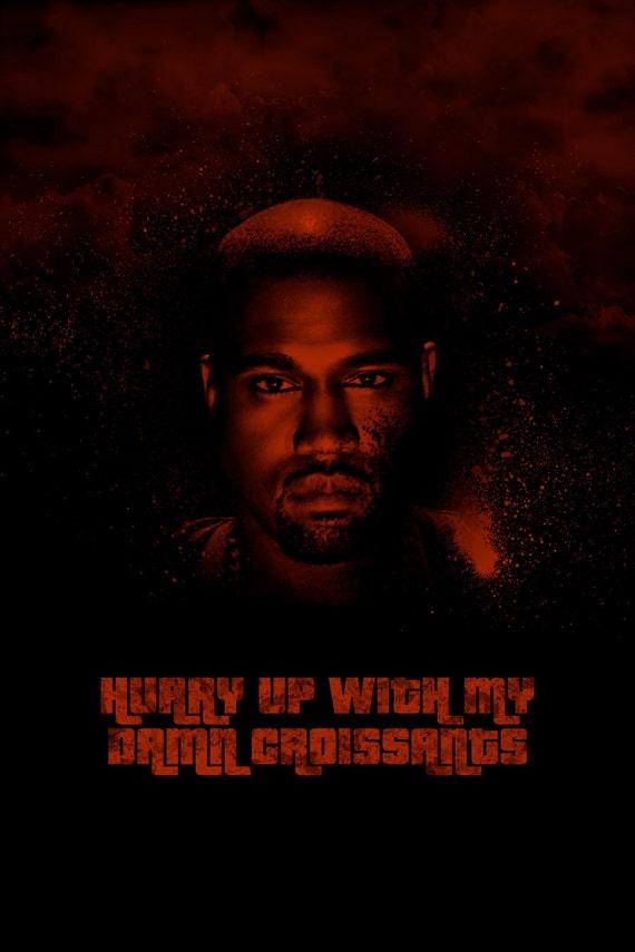 Kanye West Yeezus poster 12x18 inch duotone illustration rap by FODOBO ...