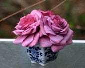 Coffee Filter Roses in Blue and White Flowerpot