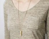 Dune - long bar necklace - 14k gold and brass layering necklace - long pendant necklace - vertical bar necklace - long layering chain