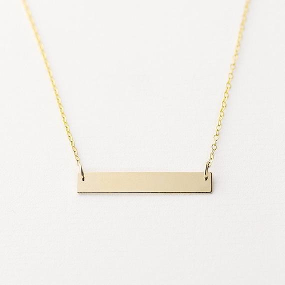 wish 14k gold filled horizontal bar necklace minimal gold. Black Bedroom Furniture Sets. Home Design Ideas