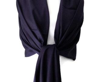 Navy Blue Pashmina , Dark Blue Scarf Wrap Shawl , Large Scarf , Fair Trade Handwoven Shawl