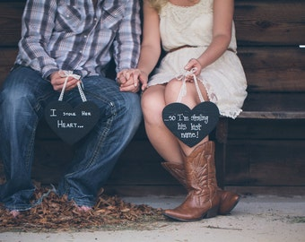 Chalkboard Heart Signs Set,I stole her heart,stealing last name,engagement photo,photo prop,wedding decoration,rustic wedding,wood heart