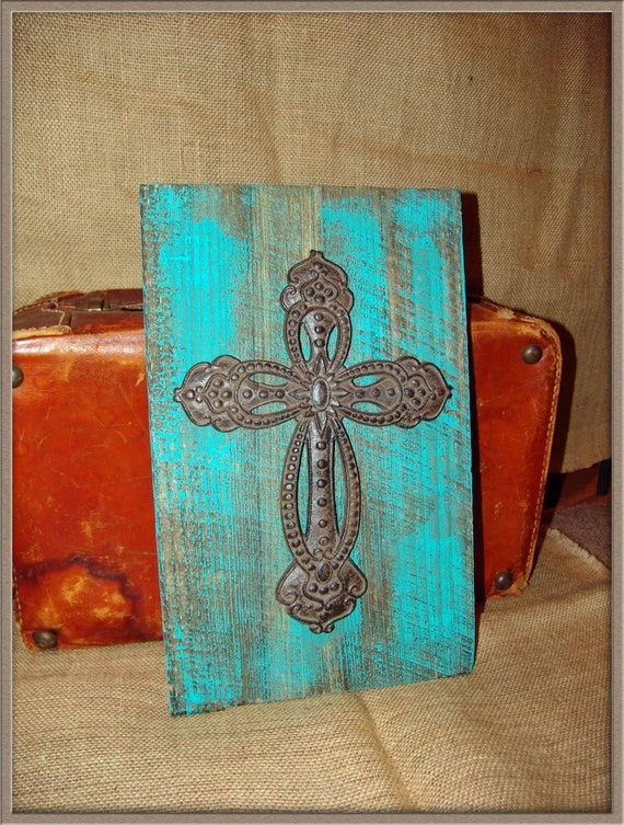 Vintage Teal Wall Decor : Teal turquoise cross board hanging wall decor vintage
