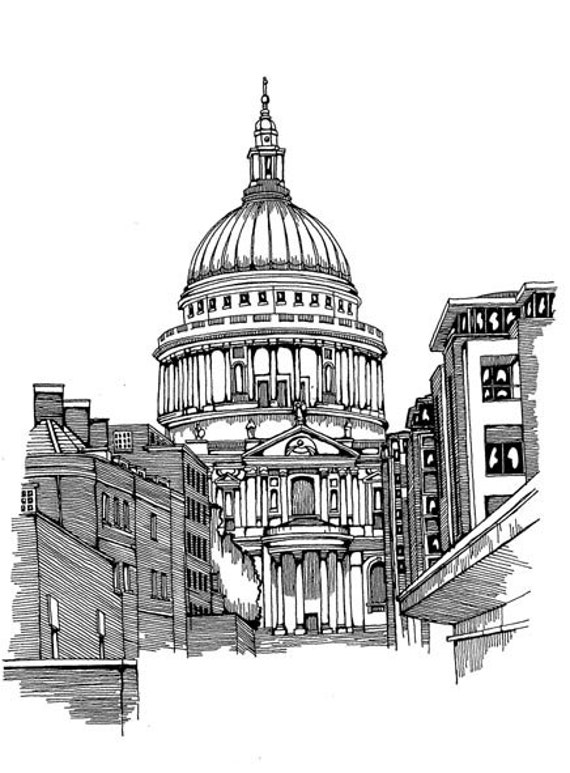 Items similar to st paul 39 s cathedral london england for Printing architectural drawings