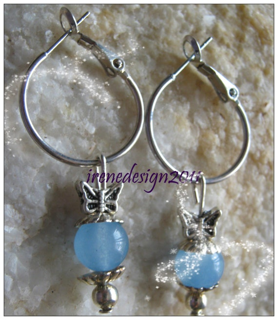 Handmade Silver Hoop Drop Earrings with Blue Aquamarine & Butterfly by IreneDesign2011