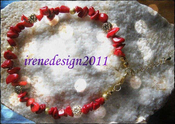 Handmade Gold Anklet with Red Coral & Flowers by IreneDesign2011