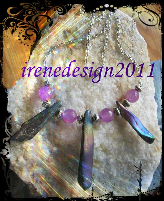 Handmade Silver Necklace with Facetted Amethyst & Titanium by IreneDesign2011