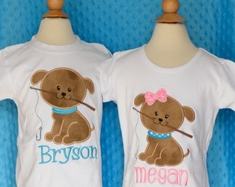 Personalized Puppy with Fishing Pole Applique Shirt or Onesie Girl or Boy