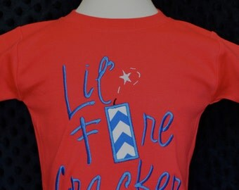 Personalized 4th of July Lil Firecracker Applique Shirt or Onesie Girl Boy