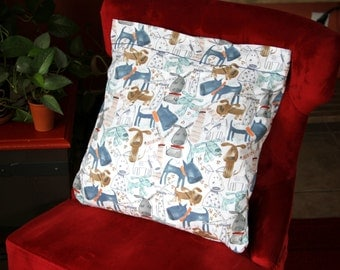 """Small decorative pillow 18""""x 18"""" with dog designed Michael Miller fabric for you or your pet."""