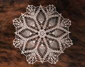 Crochet doily, lace doily, round doily, ecru doily, 12 ''