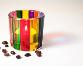 Hand Painted Candle Holder - Glass Tealight - Votive Holders - Tea Light Candles - Glass Candle Holders
