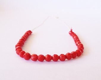 Red Coral Necklace with Sterling Silver and Silk Cord / Faceted Red Stones / Modern Vibrant Colors Gift For Her