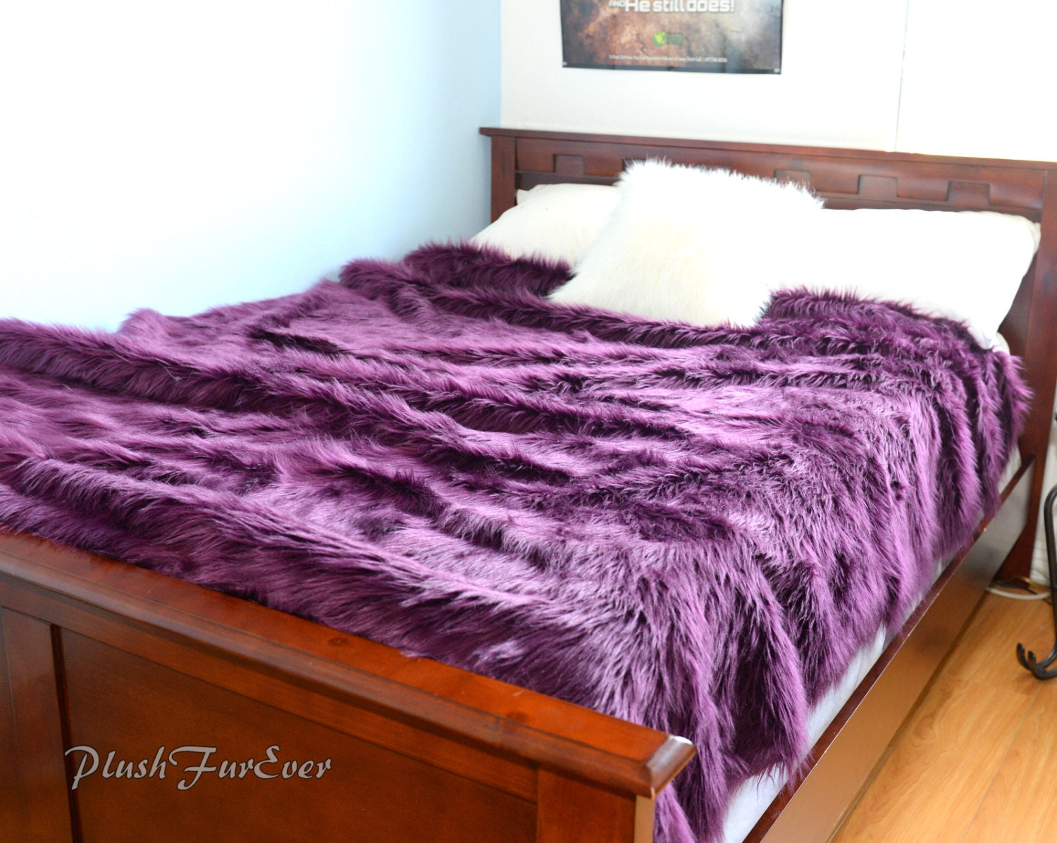 luxurious faux fur bedspread lavender purple king queen twin size bedding coverlets bed cover. Black Bedroom Furniture Sets. Home Design Ideas