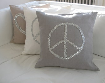 Pillow/cushion Peace sequins