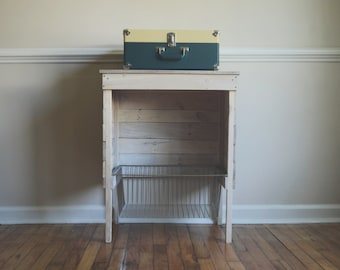 White Washed Reclaimed Storage/Record Player Stand/ Wire Basket/ Industrial Storage/ Kitchen Storage