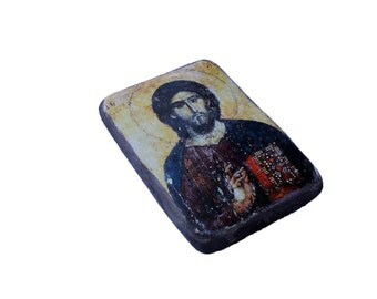 "SALE! 16x11cm (6x4"") Christ Pantocrator, Orthodox Christian wooden religious icon, Serbian monastery Chilandar, 13th century"