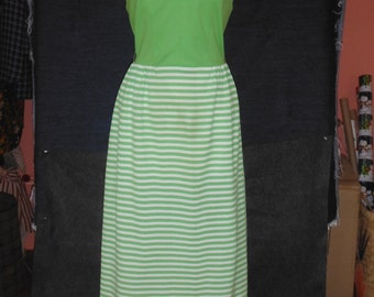 Summer Halter Maxi-Dress, Kelly Green with Green and White Striped Skirt, Vintage 1960's,  M