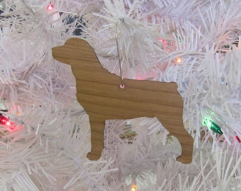 Rottweiler Ornament in Wood or Mirror Acrylic Customizable with Name
