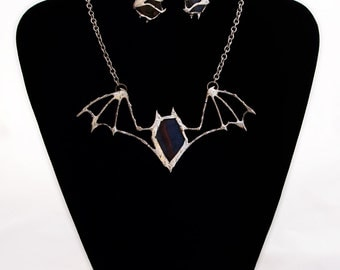 Matching Black Bat Earrings and Necklace