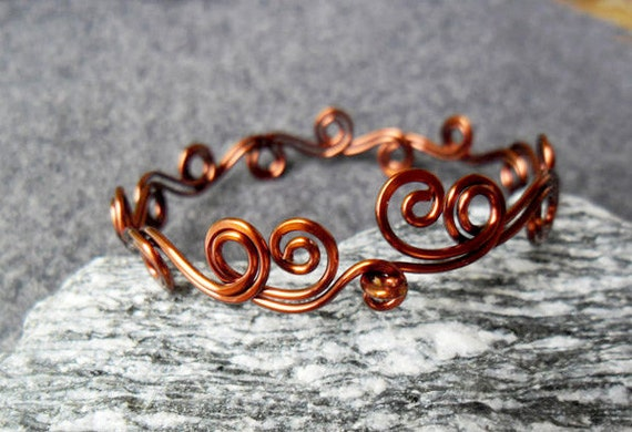 HENNA WAVE symbol bacelet Copper shapping  - copper jewelry - wire jewelry