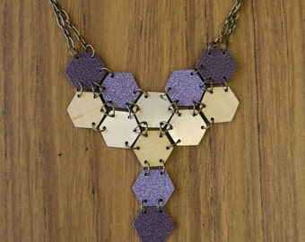 Purple Honeycomb \\ Necklace \\ Brass and Recycled Laminate Samples