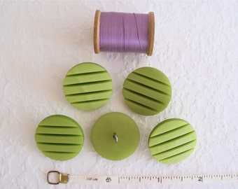 Vintage 60s-70s Lime Green Mod Plastic Buttons - Set of 5