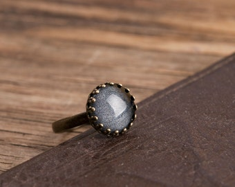 Little black ring, adjustable ring, statement ring, antique brass ring, glass dome ring, antique bronze ring, jewelry, shiny black ring