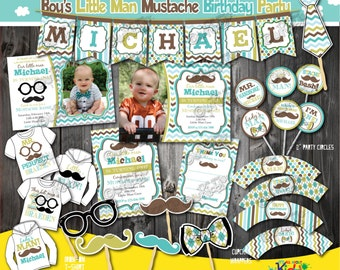 Little Man Birthday Party Package,  Mustache Birthday Party, mustache First Birthday,1st Birthday invitation,Mustache party,Little man party