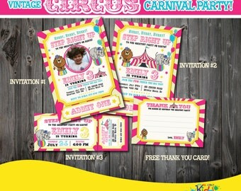 Pink Gold Circus Party PackagePrintable Circus Birthday