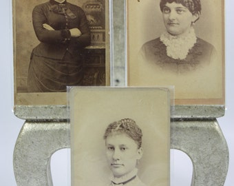 SALE! Antique Cabinet Photographs - Women in Massachusetts - 1800s - Sepia Photography - Set of 3