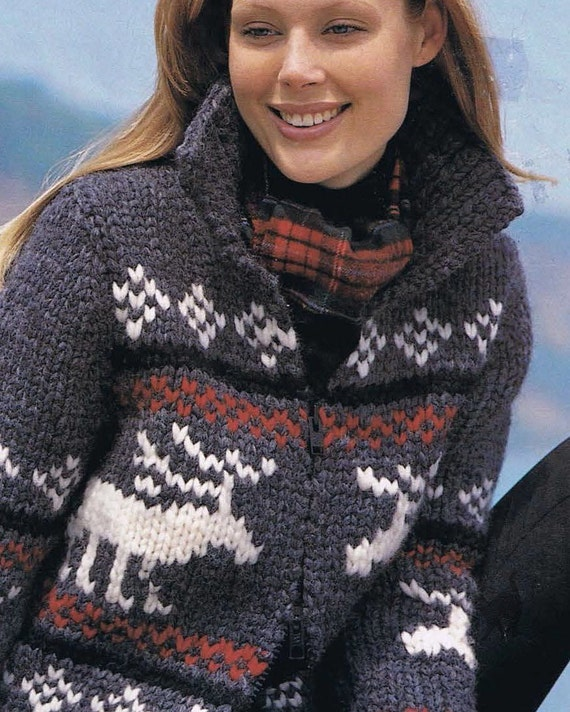 Reindeer Jacket Native Canadian West Coast Sweater Knitting