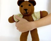 Personalized teddy bear with jacket: hand knit toy for birthdays, baby showers and special occasions