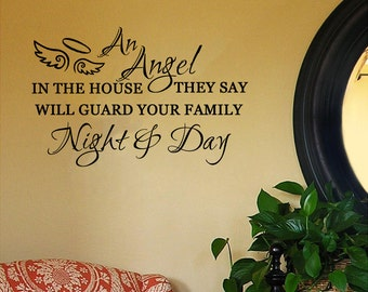 An Angel in the House They Say Will Guard Your Family Night and Day- Nursery Wall Decal