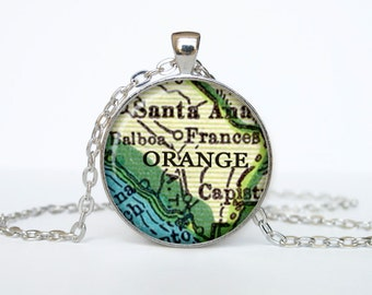Orange map pendant, Orange map necklace,Orange map jewelry, Orange California