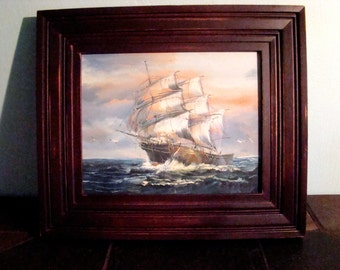 Original Signed Painting of an Antique ship by a Nautical Artist K. Dossi
