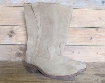 Vintage French Gardian horses  leather Boots Women by La Botte Gardiane