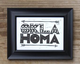 "Oklahoma 5x7"" black and white tribal print - state pride linocut print"