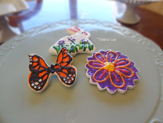 SALE! FAKE COOKIE Set of 3 Handmade Fake Cookie Faux  Spring Easter Sugar Cookie Set Bunny  Flower Monarch Butterfly