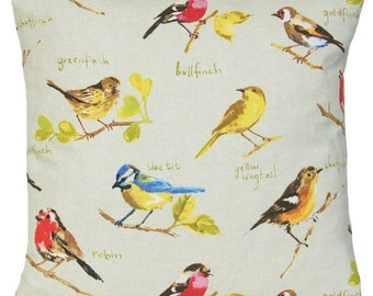 SALE now on 9.99 Was 14.99 Birds Cushion Cover Robin Vintage Country Style Yellow Red Printed Cotton Fabric Design Garden Bird