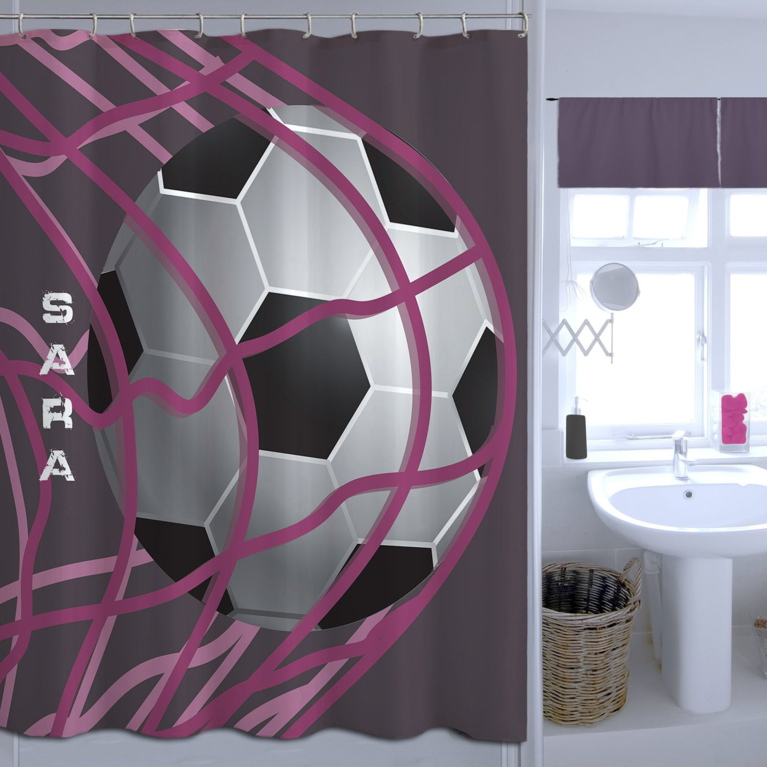 girls soccer shower curtain monogrammed shower curtain