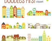 House and Building Clumps Digital Clip Art for Scrapbooking Card Making Cupcake Toppers Paper Crafts