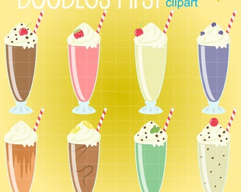 Yummy Milkshakes Digital Clip Art for Scrapbooking Card Making Cupcake Toppers Paper Crafts