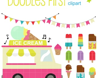 Ice Cream Truck Digital Clip Art for Scrapbooking Card Making Cupcake Toppers Paper Crafts