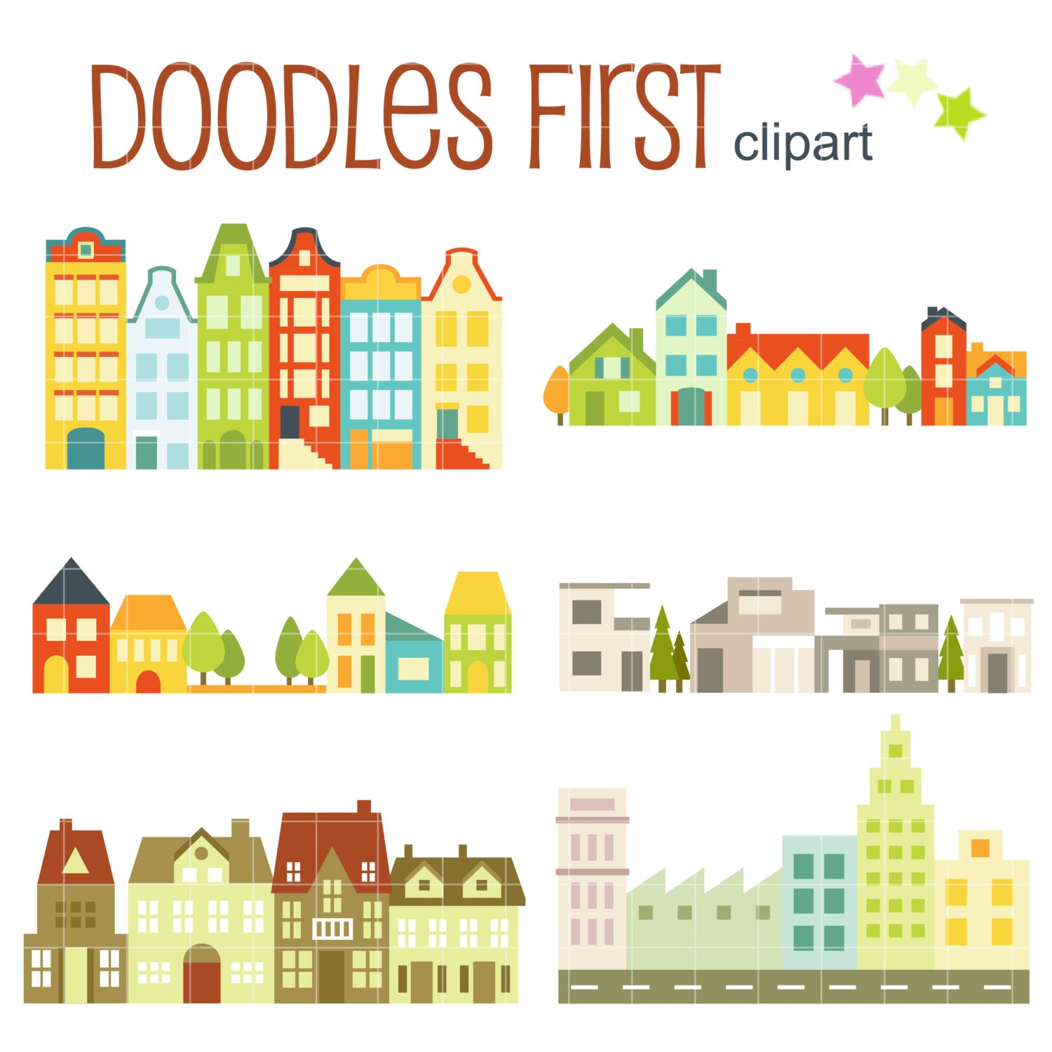 House and Building Clumps Digital Clip Art for Scrapbooking