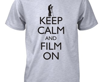 Keep Calm and Film On Funny T-Shirt Movie Cinema Director Actor Tee for Men