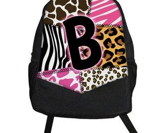 Custom Personalized Zebra Cheetah Leopard Cow Giraffe Animal Print Girls Backpack tote School Camp Monogram