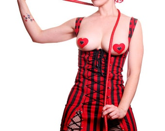 Exposed Goth Fetish Burlesque Dress Red and Black