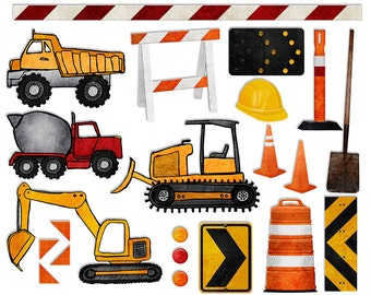 Construction Digital Clipart - Work Zone Digital Scrapbook Printable - Boy Bulldozer Dump Truck Reflector graphics - PNGs - Instant Download