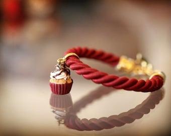 Cupcake Bracelet / Rope Jewelry / Food Jewelry / Dollhouse Miniature / Miniature Food / Chic /